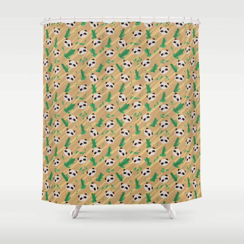 Panda Bamboo Pattern Shower Curtain by Faraday CTN8564620