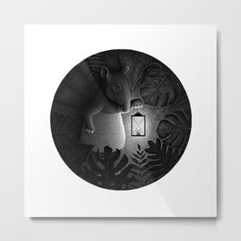 Tapirs are night creatures | Black and White Illustration Metal Print