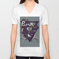 barcelona V-neck T-shirts featuring Barcelona by Giga Kobidze