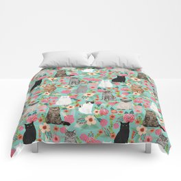 Cats floral mixed breed cat art cute gifts for cat ladies cat lovers pet art Comforters
