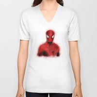 spider man V-neck T-shirts featuring Spider-Man by KitschyPopShop
