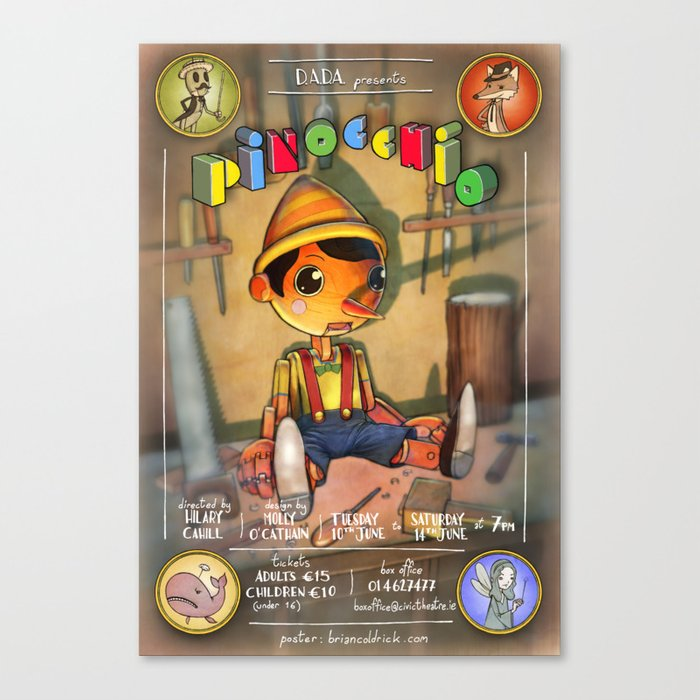 Pinocchio Canvas Print by briancoldrick