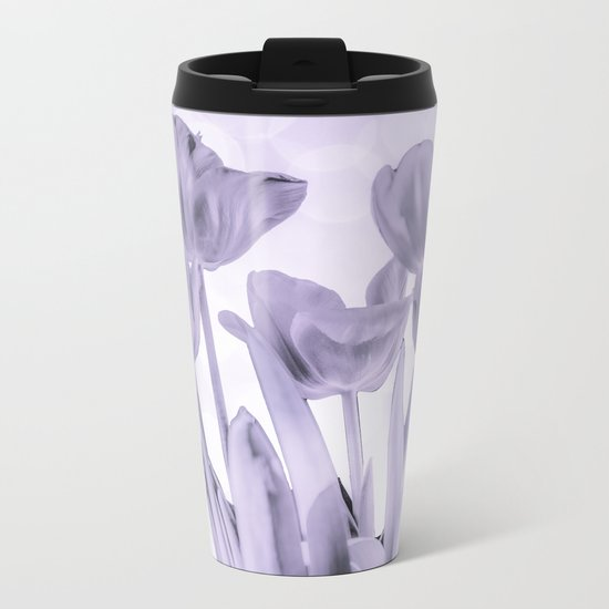 Tulips (b&w) Metal Travel Mug