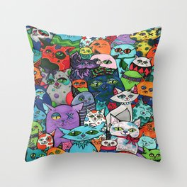 Crazy Cats Color  Throw Pillow