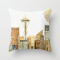 seattle Throw Pillows featuring SEATTLE by Susan Najarian Design