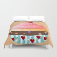 cupcake Duvet Covers featuring Cupcake by My Studio