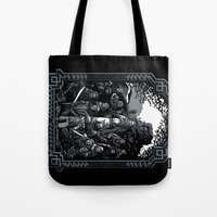 lotr Tote Bags featuring There and Back Again by Fuacka