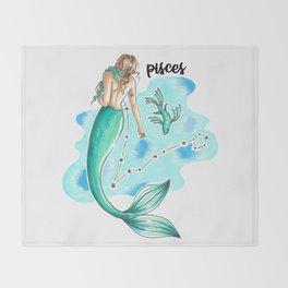 Pisces Mermaid Throw Blanket