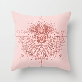 Sacred Lotus Mandala – Rose Gold & Blush Palette Throw Pillow