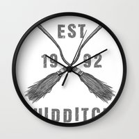 quidditch Wall Clocks featuring Varsity Quidditch by Makar Deku