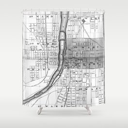 Vintage Map of Grand Rapids Michigan (1873) BW Shower Curtain
