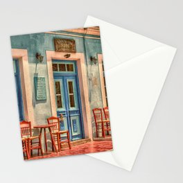 Pastel Cafe Peloponnese Greece Stationery Cards