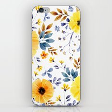 Yellow watercolor flowers iPhone & iPod Skin