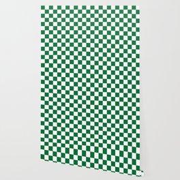 Checkered (Dark Green & White Pattern) Wallpaper