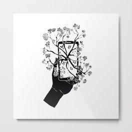 Break Free Cellphone Illustration - Hand holding cellphone growing a tree. Metal Print