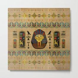 Egyptian Sphinx Ornament on papyrus Metal Print