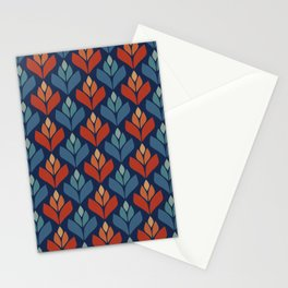 Blue & Red Retro Trefoil Pattern Stationery Cards