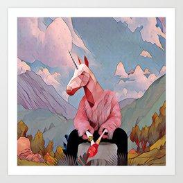 Unicorn with the fur coat Art Print