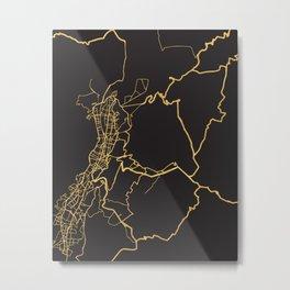 QUITO ECUADOR GOLD ON BLACK CITY MAP Metal Print