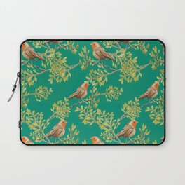 Red Robin & Emerald Green Pattern Laptop Sleeve