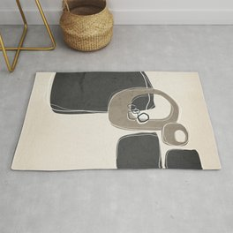 Retro Abstract Design in Taupe and Charcoal Gray Rug