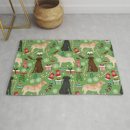 Labrador retrievers christmas festive holiday gifts for dog lover in your life dog breeds custom art Rug