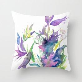 Campanula & Mallow Throw Pillow
