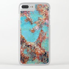 Oneness, Turquoise and Teal Abstract Clear iPhone Case