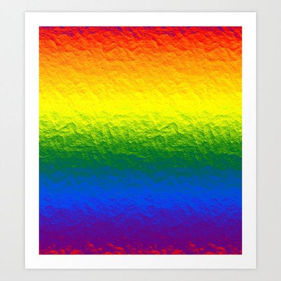Rainbow Gradient Painted Pattern Art Print