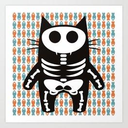 Meow Skeleton Art Print