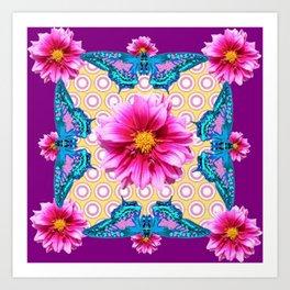 BLUE BUTTERFLIES FUCHSIA DAHLIA FLOWERS ABSTRACT Art Print