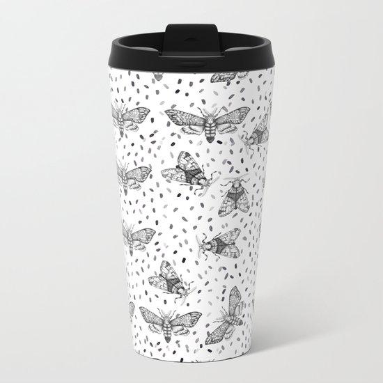 Moths pattern Metal Travel Mug