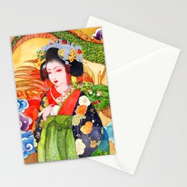 Watercolor Japanese Beauty - Oiran Stationery Cards