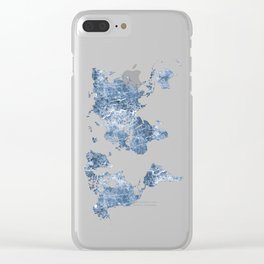 Azurro Blue Marble World Map Clear iPhone Case