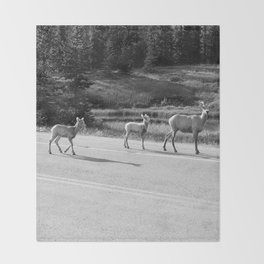 Mom and the Kids-B&W Throw Blanket