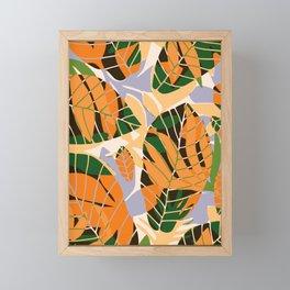 Summer orange botanical pattern Framed Mini Art Print