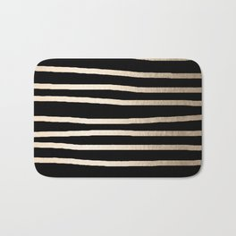 Simply Drawn Stripes White Gold Sands on Midnight Black Bath Mat