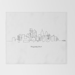 Philadelphia Skyline Drawing Throw Blanket