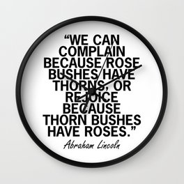 Abraham Lincoln Rose Quote Wall Clock