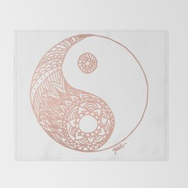 Rose Gold Yin Yang Throw Blanket