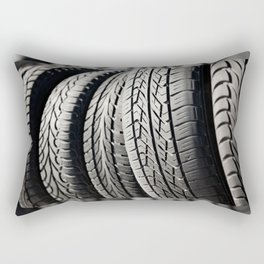 used black tires in row Rectangular Pillow