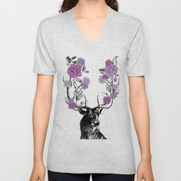 The Stag and Roses | Lilac | Purple Unisex V-Neck