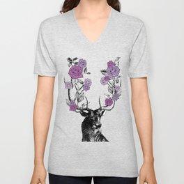 The Stag and Roses | Deer and Flowers | Purple | Vintage Stag | Vintage Deer | Antlers | Woodland | Unisex V-Neck
