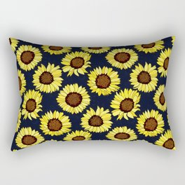 Sunflowers are the New Roses! - Navy Rectangular Pillow