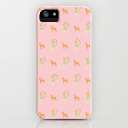 The Forest Girl and Deer pattern, pink iPhone Case