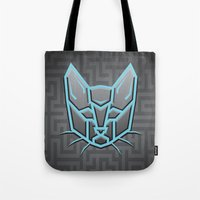 transformers Tote Bags featuring Autocats Transformers by Enrique Valles