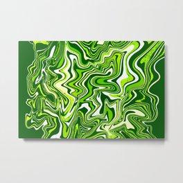 Green Glitter Agate Slice Metal Print