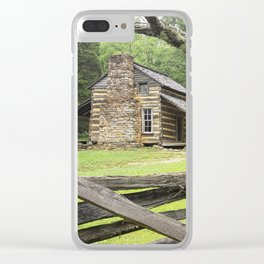 The Oliver Cabin in Cade's Cove in the Great Smokey Mountains Clear iPhone Case