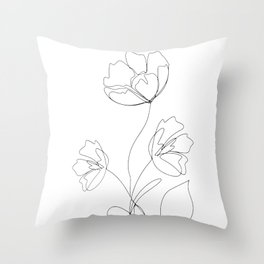 Poppies Minimal Line Art Throw Pillow