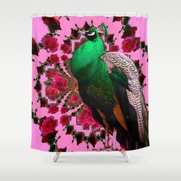 BEAUTIFUL GREEN PEACOCK PINK ROSES ABSTRACT Shower Curtain